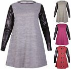 Womens Plus Size PU Wet Look Sleeve Ladies Stretch Bow Swing Flared Dress Top