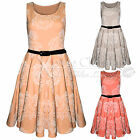WOMEN LADIES CONTRAST FLOWER FLOCK PRINT SKATER DRESS SKIRT BELT DRESSES BODYCON