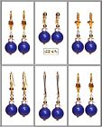 10mm Blue Lapis Lazuli, Gold Plated Lever Back Or French Hook Earrings - Choose