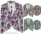 Womens Long Sleeve Ladies Aztec Tribal Print Blazers Jackets coats Size 8-12