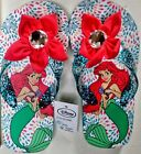 NEW Disney Ariel FLIP FLOPS Pink Flower Jewel glitter straps Mermaid SZ 9-13 1-3