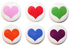 "1"" (25mm) Plain Love Heart Button Badge Pins - High Quality - MADE IN UK"