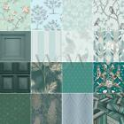 Duck Egg Blue Teal Wallpaper - Owl, Bird, Peacock, Scroll & Tree Designs