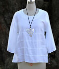 MOSAIC 585 Flax Linen TIER TUNIC A-Line Panel-Banded Front Top S M L XL WHITE