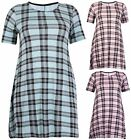 Womens Plus Size Check Print Ladies Stretch Flared Swing Dress Jumper Long Top