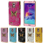 Bling Leather Butterfly Hard Case Skin Cover For Samsung Galaxy Note 4 Hottest