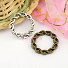 60Pcs Tibetan Silver,Antiqued Bronze Twist Circle Rings 20.5mm M1653