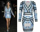 WOMENS CELEBRITY INSPIRED JASMIN WALIA BLUE FLORAL BODYCON MINI MIDI DRESS 8-14
