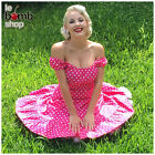 50s Style BUBBLEGUM PINK &Wht POLKA Dots PINUP Peasant Top On/Off Shoulder Dress