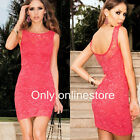 Womens Lace Sleeveless Clubwear Party Evening Cocktail Bodycon Pencil Mini Dress
