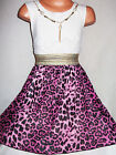 GIRLS WHITE LACE PINK ANIMAL PRINT CHIFFON DIP HEM PARTY DRESS with NECKLACE