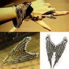 Retro Vintage Fashion Silver Angel Wings with Crystal Rhinestone Adjustable Ring