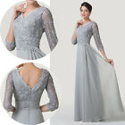 2015 Applique Long Sexy Vintage Half Sleeve Bridesmaid Evening Party Gowns Dress