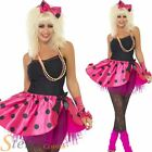 Ladies Neon Pink Tutu Kit 1980s Fancy Dress Costume Womens Adult Outfit