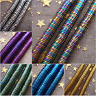 New 2-6mm Gold Silver Rainbow Blue Violet Green Coppery Hematite Stone Coin Bead