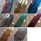 New 2-4mm Gold Silver Rainbow Blue Violet Green Coppery Hematite Stone Cube Bead