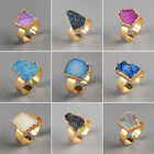 Adjustable Cute Colorful Agate Druzy Geode Ring Gemstone Golden HG098