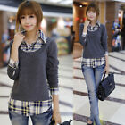 Korean Style Women Fashion Plaid T-shirt Long Sleeve Turn-down Collar Shirt