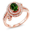 2.05 Ct Oval Green Chrome Diopside 925 Rose Gold Plated Silver Ring