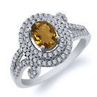 1.95 Ct Oval Natural Champagne Quartz 925 Sterling Silver Ring