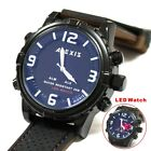 AW801G Date BackLight Silicone Black Band Unisex Dual Time Alexis Anadigit Watch
