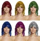 HENBRANDT TINSEL WIG CHOOSE COLOUR - RED PINK BLUE GREEN SILVER GOLD FANCY DRESS