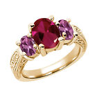 3.39 Ct Red Created Ruby Pink Tourmaline  YG Plated Silver  Ring