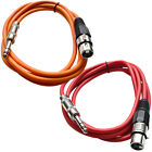 """Two 1/4"""" to XLR Female Patch Cables 6' Extension Cords Jumper - Various Colors"""