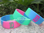 "1x One Direction 1D Silicone Rainbow 1"" Wide Wristband Bracelet"