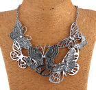 Fashion Women Charm Butterfly Sliver Pendant Chain Bib Necklace Jewellery Collar