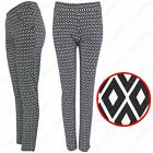 NEW WOMENS MONO DIAMOND PRINT TROUSERS LADIES STRETCH TAPERED LOOK PANTS TROUSER
