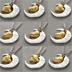 """Gold/Silver New Family """"I LOVE YOU TO THE MOON AND BACK """" Necklace Pendant Gift"""