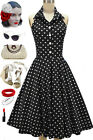 50s Style DOO WOP DARLING Black with White POLKA DOTS Pinup HALTER Sun Dress