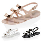 NEW LADIES BUCKLE STRAP WOMENS BOW DESIGN FLAT JELLIES SANDALS SHOES SIZE 3-8