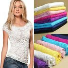 New Fashion Women M/L Lace Floral Sexy Top Crew Neck Short Sleeve Blouse T-shirt