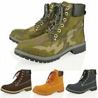 Women Military Army Lace Up Ankle Winter Boots Shoes Size 3-8