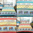 ELEPHANT INDIAN STRIPED ANIMAL PRINT QUILT DUVET COVER BEDDING SET RED BLUE GOLD