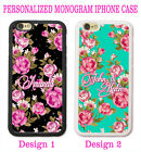 SHABBY CHIC HOT PINK ROSE TEAL MONOGRAM CASE Travel FOR IPHONE 6 6S PLUS 5S 5C 5