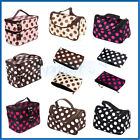 WOMEN Large/Compact Cute Dot MAKEUP Bag Cosmetic Toiletry Travel Kit Beauty Case