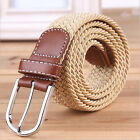 Best-chioce Men's Elastic Fabric Woven Braided Stretch Belt Leather Inlay OZUS