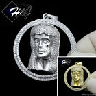 MEN 925 STERLING SILVER ICED OUT BLING SILVER/GOLD JESUS FACE CHARM PENDANT*SP40
