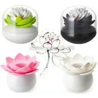 Lotus Flower Home Decor Toothpick Cotton Bud Swab Holder Storage Box Cup Case