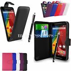 FLIP WALLET CASE POUCH PU LEATHER COVER FOR MOTOROLA MOTO E (2nd Gen 2015)