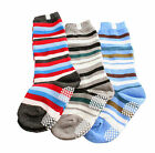 Kids Boys Blue Stripe 3-Pack Stripe Calf / Knee Anti-slip Socks 6 M 2 3 4 Years