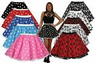 "Stars Or Skulls Polka Dot 15"" Rock n Roll Skater Skirt Fancy Dress UK 8/14"