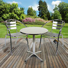 Aluminium Lightweight Chrome Bistro Sets Table Chair Patio Garden Outdoor Silver