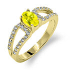 1.43 Ct Oval Natural Canary Mystic Topaz 14K Yellow Gold Ring