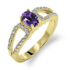 1.23 Ct Oval Natural Purple Amethyst 14K Yellow Gold Ring