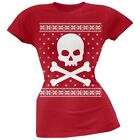 Giant Skull And Crossbones Ugly Christmas Sweater Red Juniors T-Shirt