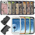 Heavy Duty Hybrid Camo Hard Back Case Skin with Belt Clip for Samsung S3 S4 S5